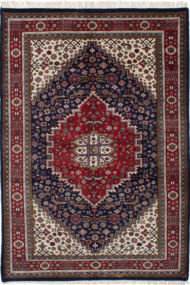 Traditional Blue Area rug 5x8 Indian Hand-knotted 228183