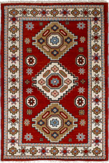 Traditional Brown Area rug 3x5 Indian Hand-knotted 233179