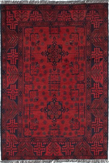 Geometric  Tribal Red Area rug 3x5 Afghan Hand-knotted 236324