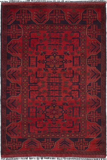 Geometric  Tribal Red Area rug 3x5 Afghan Hand-knotted 236327