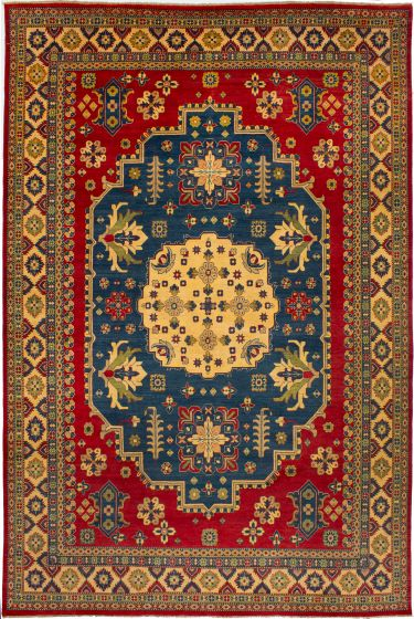 Bordered  Traditional Red Area rug 10x14 Afghan Hand-knotted 272461