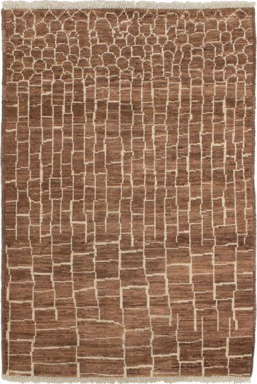 Casual  Transitional Brown Area rug 3x5 Indian Hand-knotted 280155