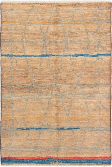 Casual  Transitional Brown Area rug 5x8 Indian Hand-knotted 280296