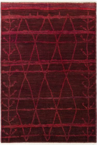 Casual  Transitional Red Area rug 5x8 Indian Hand-knotted 280536