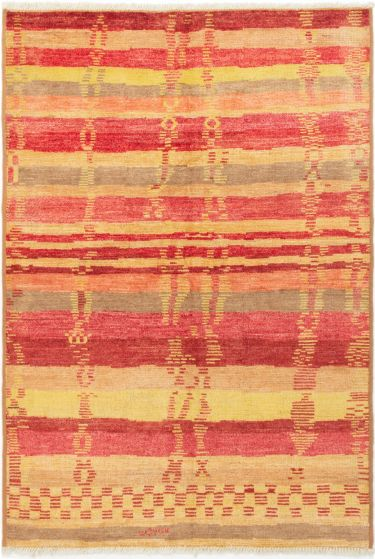 Stripes  Transitional Red Area rug 5x8 Indian Hand-knotted 280565