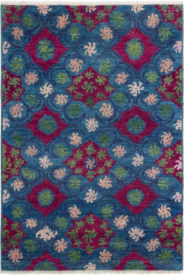 Casual  Transitional Blue Area rug 5x8 Indian Hand-knotted 280625