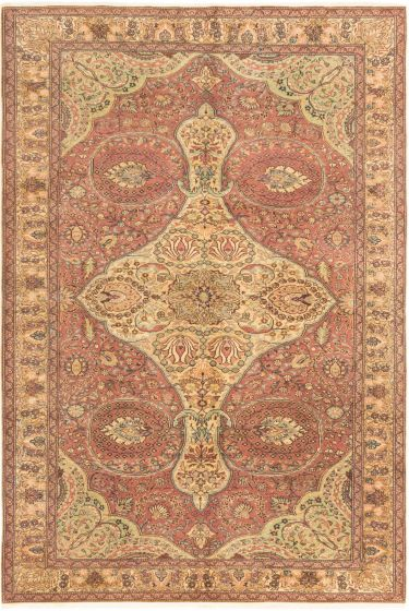 Bordered  Traditional Red Area rug 6x9 Turkish Hand-knotted 280912