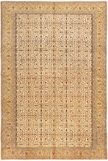 Bordered  Floral Ivory Area rug 6x9 Turkish Hand-knotted 280996