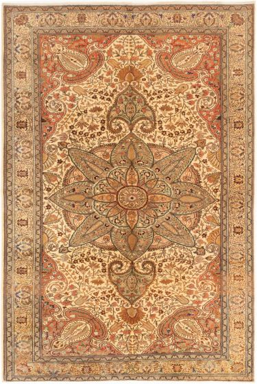Bordered  Traditional Ivory Area rug 6x9 Turkish Hand-knotted 281024