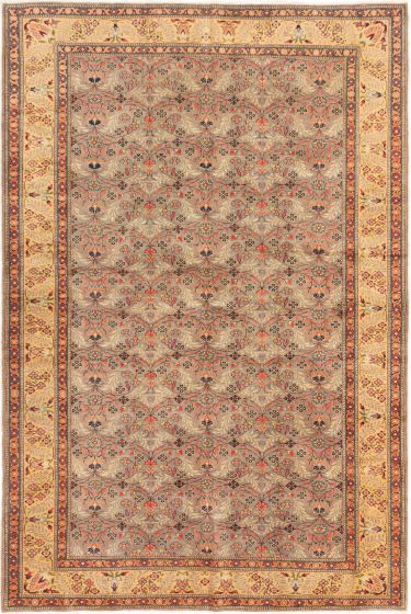 Bordered  Transitional Grey Area rug 6x9 Turkish Hand-knotted 281038