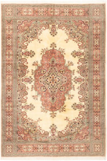 Bordered  Traditional Ivory Area rug 6x9 Turkish Hand-knotted 281071