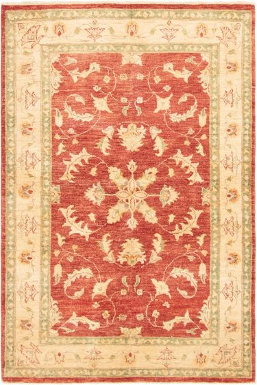 Bordered  Traditional Red Area rug 4x6 Afghan Hand-knotted 292858
