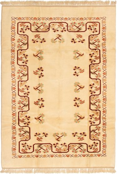 Bordered  Traditional Ivory Area rug 6x9 Turkish Hand-knotted 293263