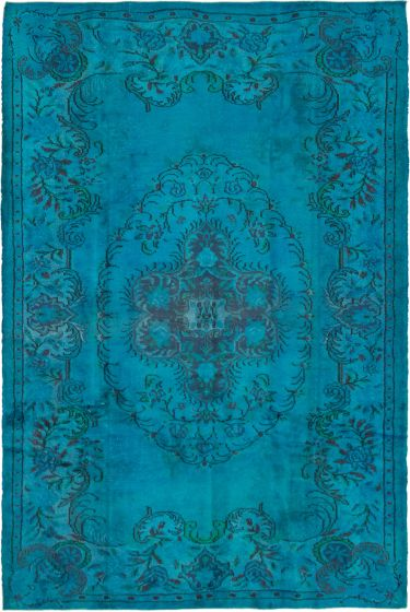 Bordered  Transitional Blue Area rug 5x8 Turkish Hand-knotted 293781