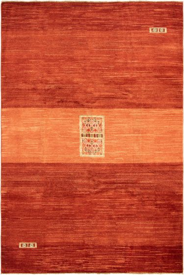 Gabbeh  Tribal Brown Area rug 6x9 Afghan Hand-knotted 294485
