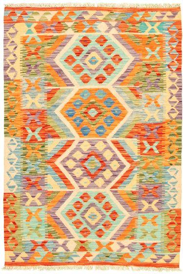 Bordered  Geometric Multi Area rug 3x5 Turkish Flat-weave 330189