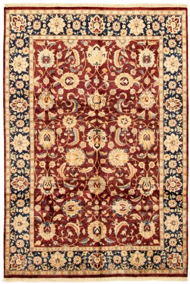 Bordered  Traditional Red Area rug 5x8 Pakistani Hand-knotted 330522