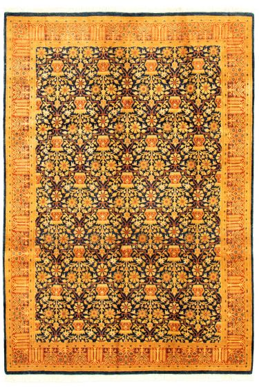 Bordered  Traditional Blue Area rug 5x8 Pakistani Hand-knotted 330567