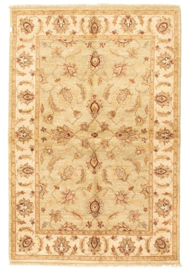 Bordered  Traditional Green Area rug 3x5 Afghan Hand-knotted 331275