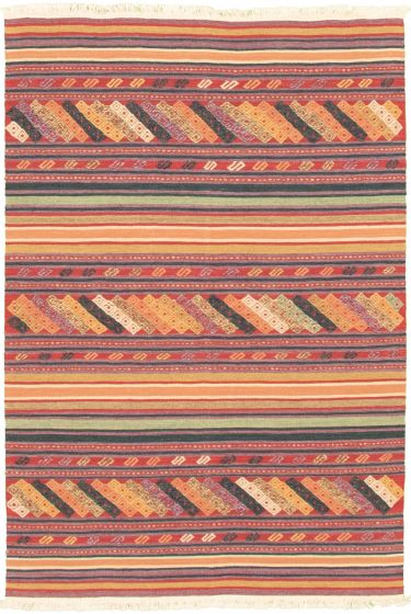 Bohemian  Transitional Red Area rug 3x5 Turkish Flat-weave 335893