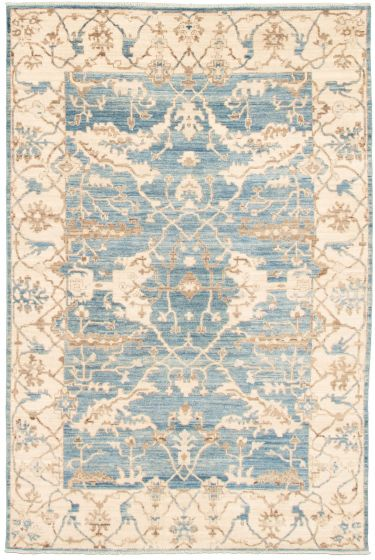 Bordered  Traditional Blue Area rug 5x8 Pakistani Hand-knotted 339007