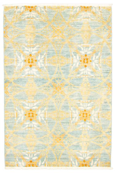 Floral  Transitional Blue Area rug 3x5 Pakistani Hand-knotted 342111