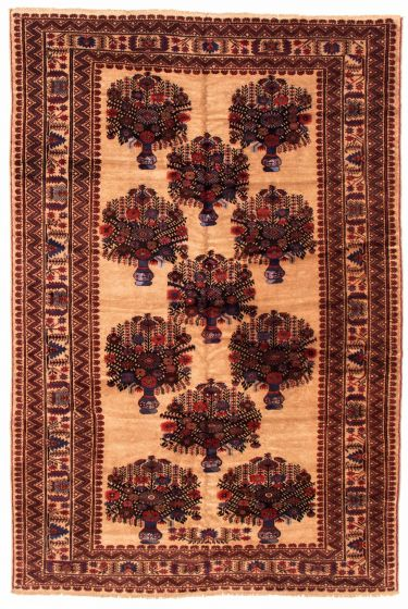 Bordered  Tribal Brown Area rug 6x9 Afghan Hand-knotted 348544