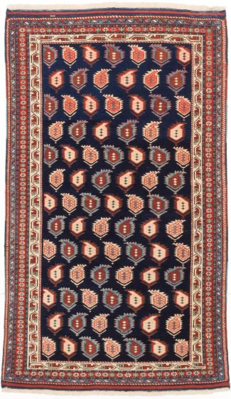 Traditional Blue Area rug 4x6 Persian Hand-knotted 203574