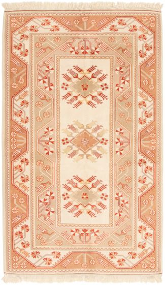 Bordered  Traditional Ivory Area rug 5x8 Turkish Hand-knotted 293857