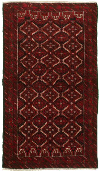 Bordered  Tribal Red Area rug 3x5 Afghan Hand-knotted 334952