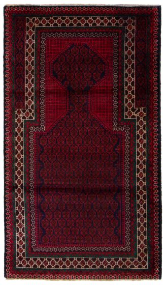 Bordered  Tribal Red Area rug 3x5 Afghan Hand-knotted 360599
