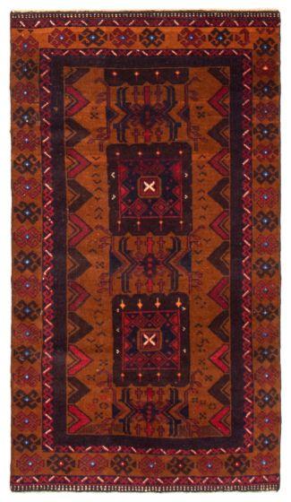Geometric  Tribal Orange Area rug 3x5 Afghan Hand-knotted 367535