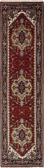 Floral  Traditional Orange Runner rug 10-ft-runner Indian Hand-knotted 218627