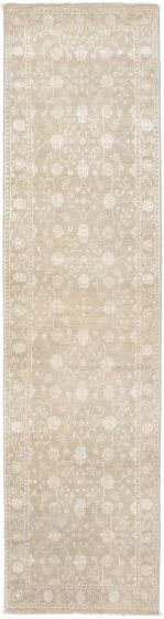 Traditional Ivory Runner rug 10-ft-runner Indian Hand-knotted 223861