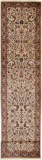 Bordered  Traditional Ivory Runner rug 12-ft-runner Pakistani Hand-knotted 274066