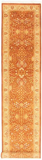 Bordered  Traditional Brown Runner rug 16-ft-runner Pakistani Hand-knotted 330319