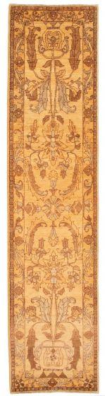 Bordered  Traditional Ivory Runner rug 12-ft-runner Afghan Hand-knotted 331531