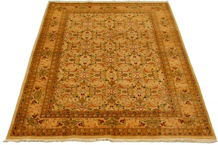 Bordered  Traditional Ivory Area rug 5x8 Pakistani Hand-knotted 330528