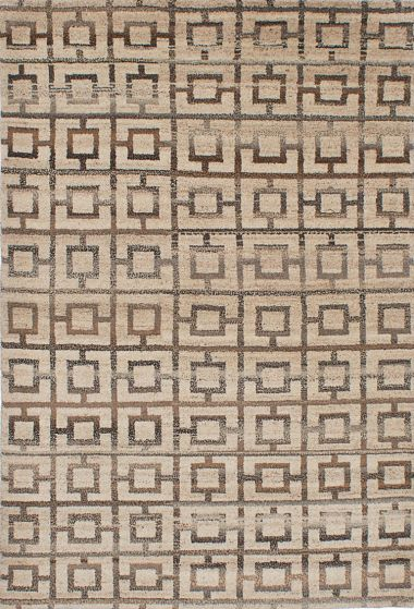 Transitional Ivory Area rug 5x8 Indian Hand-knotted 222072