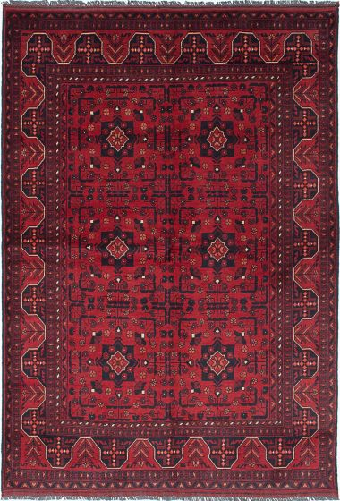 Traditional Red Area rug 5x8 Afghan Hand-knotted 222316