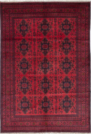 Traditional Red Area rug 6x9 Afghan Hand-knotted 222326