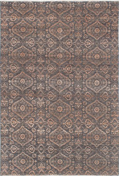 Transitional Grey Area rug 5x8 Indian Hand-knotted 223808