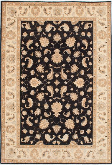 Traditional Black Area rug 5x8 Afghan Hand-knotted 224077