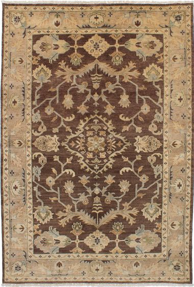 Traditional Brown Area rug 5x8 Indian Hand-knotted 228149