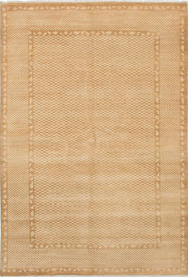 Transitional Brown Area rug 5x8 Pakistani Hand-knotted 228193