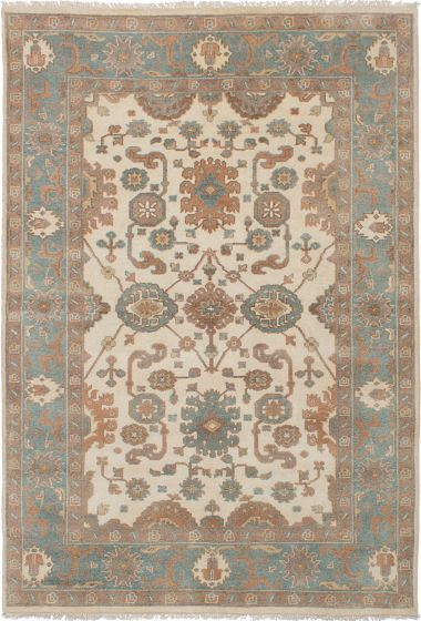 Floral  Traditional Ivory Area rug 5x8 Indian Hand-knotted 241001