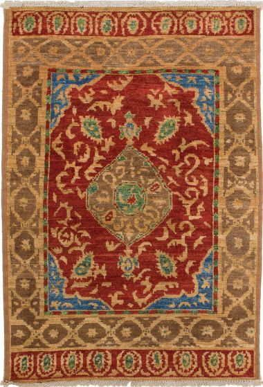 Bordered  Transitional Red Area rug 3x5 Indian Hand-knotted 280158