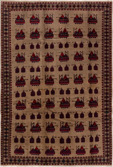 Bordered  Tribal Brown Area rug 6x9 Afghan Hand-knotted 280208