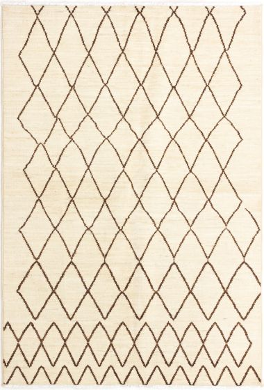Moroccan  Traditional Ivory Area rug 5x8 Indian Hand-knotted 280515
