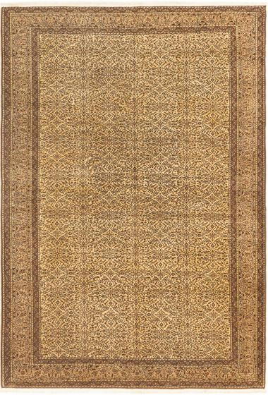 Bordered  Floral Ivory Area rug 6x9 Turkish Hand-knotted 280895